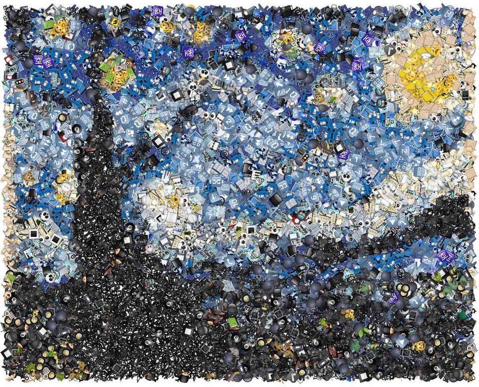 La Noche estrellada con emojis
